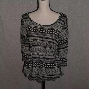 Tribal Print 3/4 Sleeve Tunic